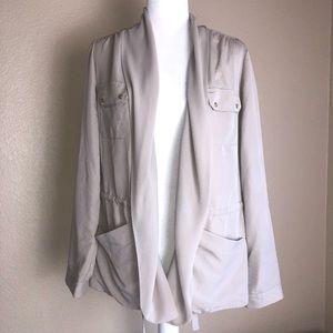 Chico's M light jacket Cardigan open front beige
